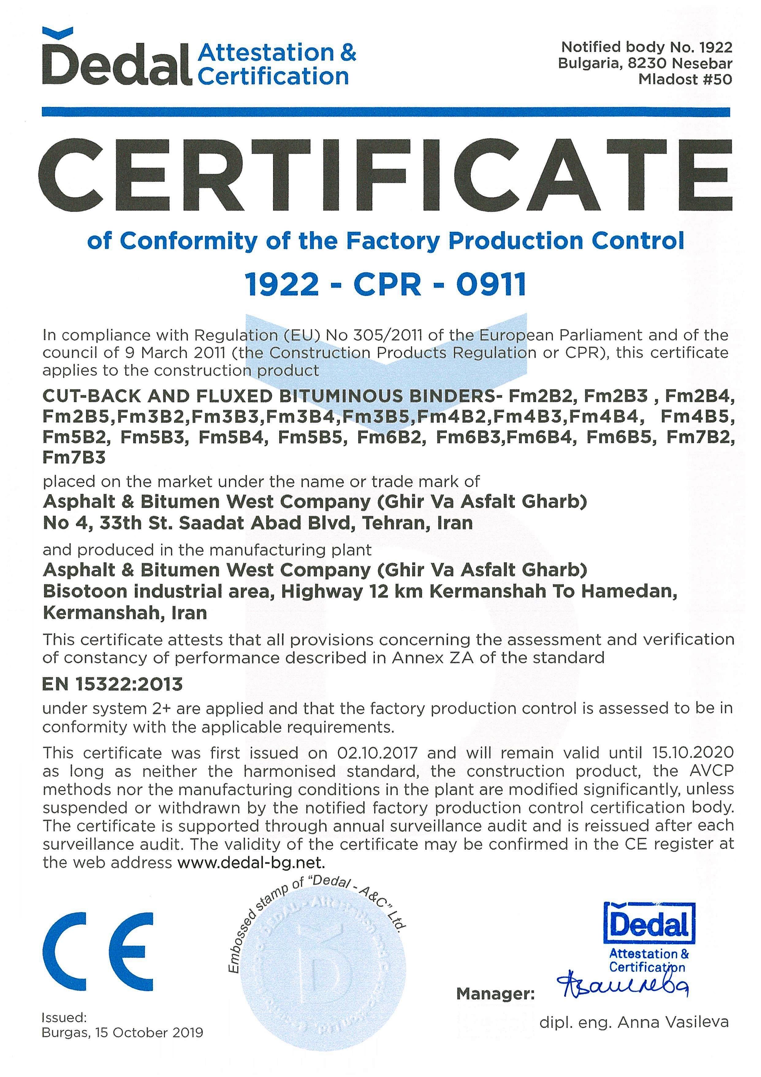 CE Certificate -2019